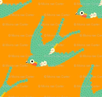 bebuttoned birds - orange