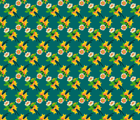 buttons'n'bows - teal fabric by moirarae on Spoonflower - custom fabric