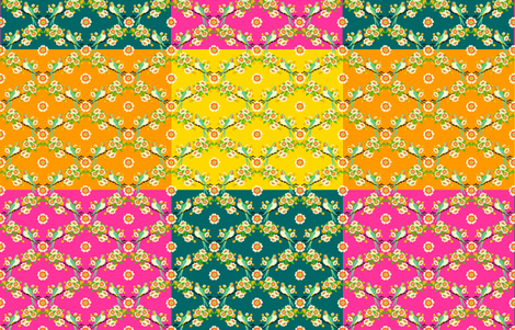 bloomin'buttons'n'birds - large blocks fabric by moirarae on Spoonflower - custom fabric