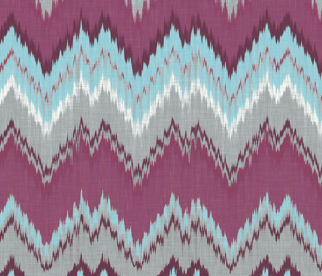 Aqua, Plum and Cashmere Ikat Chevron fabric by willowlanetextiles on Spoonflower - custom fabric