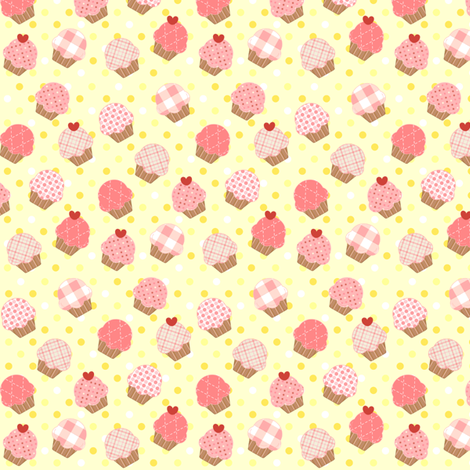 Small Pink Cupcakes Yellow fabric by jenfur on Spoonflower - custom fabric