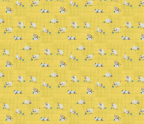 siamese, yellow fabric by sanneteloo on Spoonflower - custom fabric