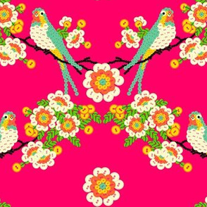 Bloomin'buttons'n'Birds - neon red