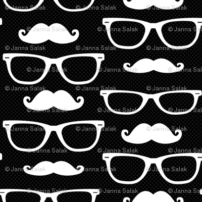 Hipster Mustache and Glasses Black Dot