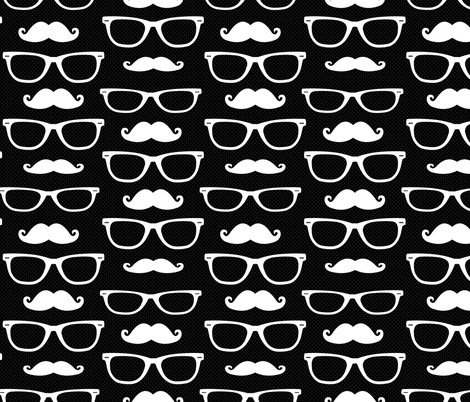 Hipster Mustache and Glasses Black Dot fabric by jannasalak on Spoonflower - custom fabric
