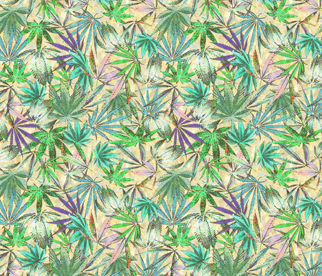 Cannabis Blue fabric by camomoto on Spoonflower - custom fabric