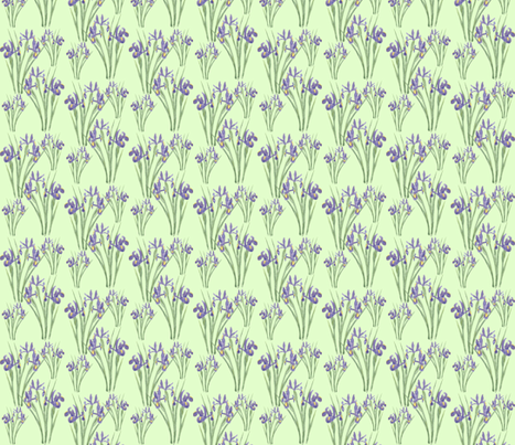 Irises on Green (version 2) fabric by jenithea on Spoonflower - custom fabric