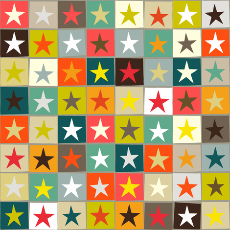 retro boxed stars small fabric by scrummy on Spoonflower - custom fabric