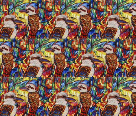 Kookaburras At Opal Canyon fabric by diconnollyart on Spoonflower - custom fabric