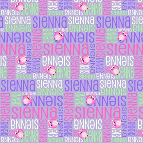Personalised Name Design - Owls in Purple Pink Green