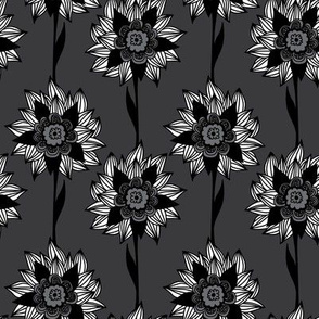 Black and white exotic flowers