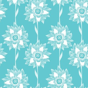 Exotic flowers on mint / turquoise background