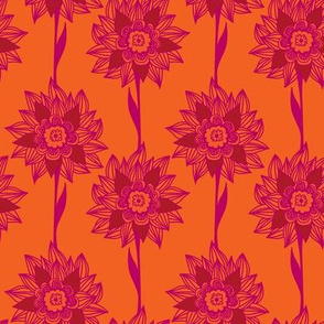 Tropical florals in orange and rich pink