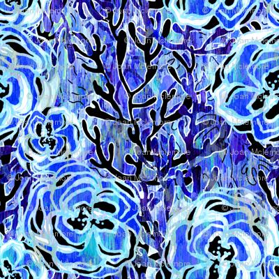 Vienna Deco Floral in sapphire