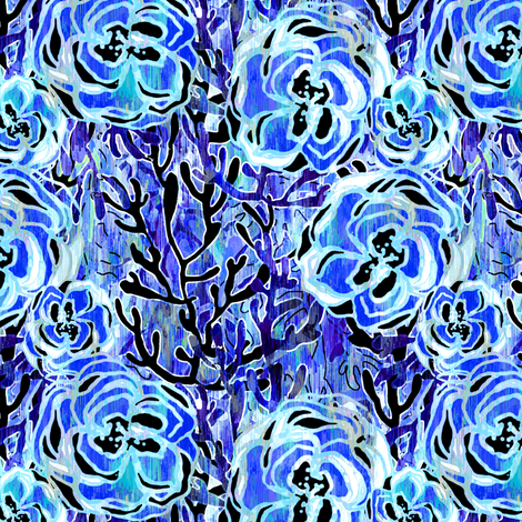 Vienna Deco Floral in sapphire fabric by joanmclemore on Spoonflower - custom fabric