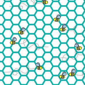 Bee Hive -Turquoise & White