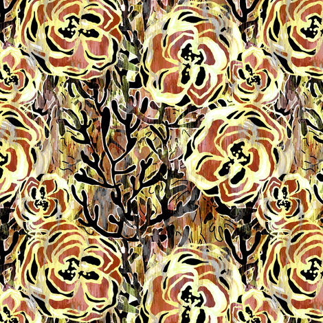 Vienna Deco floral in Sienna  fabric by joanmclemore on Spoonflower - custom fabric
