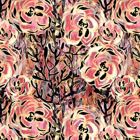 Vienna Deco floral in Rose pink fabric by joanmclemore on Spoonflower - custom fabric