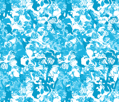 CYAN BUTTERFLIES fabric by juliagrifol on Spoonflower - custom fabric