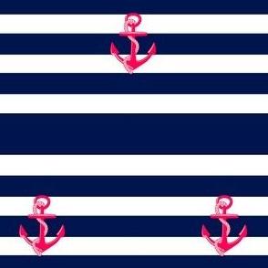 Pink Anchor on Navy Stripe