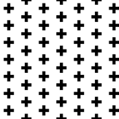 Small Black Crosses on White - Black Plus Sign - Small Version