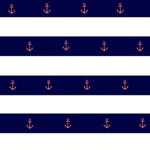 PInk Anchor on Navy Blue Stripe-Small