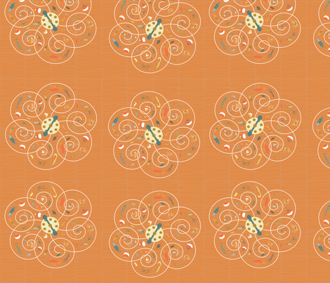 Spinners Tangerine fabric by pamela_hamilton on Spoonflower - custom fabric