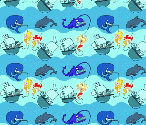 fishes lure fabric by margreetdeheer on Spoonflower - custom fabric