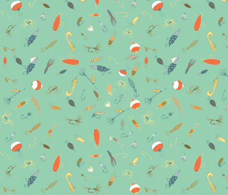 Bobbers Green fabric by pamela_hamilton on Spoonflower - custom fabric