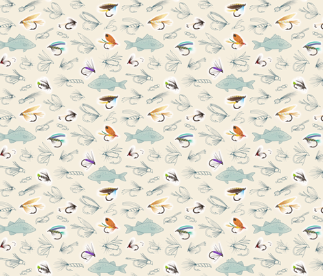 Fishing Flies fabric by hazelfishercreations on Spoonflower - custom fabric