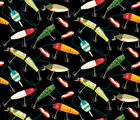 Plenty of Fishing Lures - original size fabric by retrorudolphs on Spoonflower - custom fabric