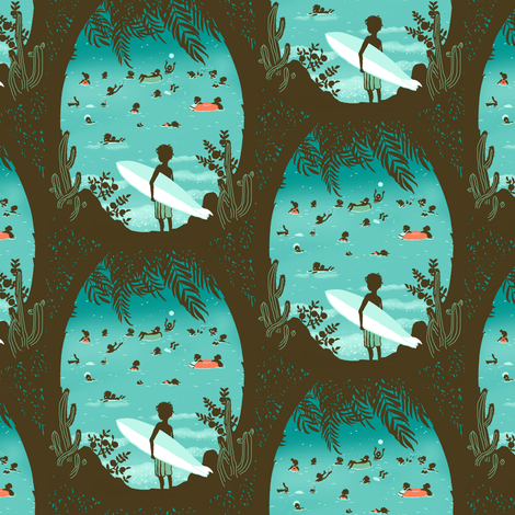 surfing small fabric by sanneteloo on Spoonflower - custom fabric