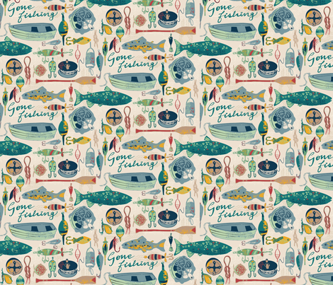 Gone Fishing fabric by ohn_mar_win on Spoonflower - custom fabric