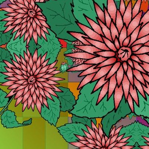coral_clipart_flowers_on_checkerboard_w_gradient