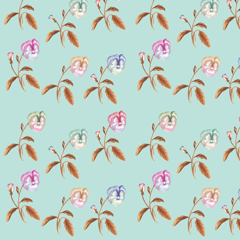 Pansy Meadow, Copper on Green Grey fabric by thistleandfox on Spoonflower - custom fabric