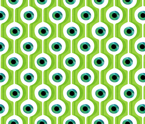 Eye Pod Lime fabric by spellstone on Spoonflower - custom fabric