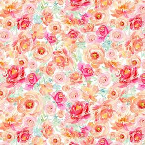 Peach Peony Fuchsia Rose