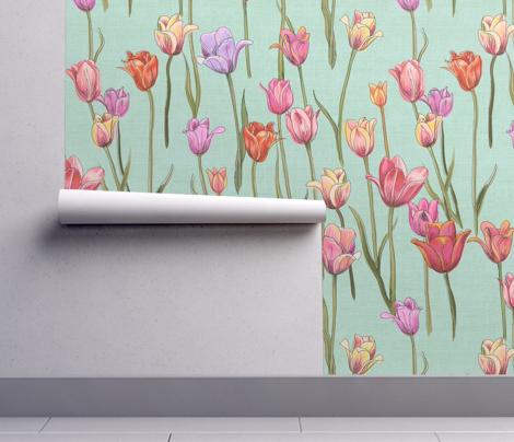 Holland tulips on aqua