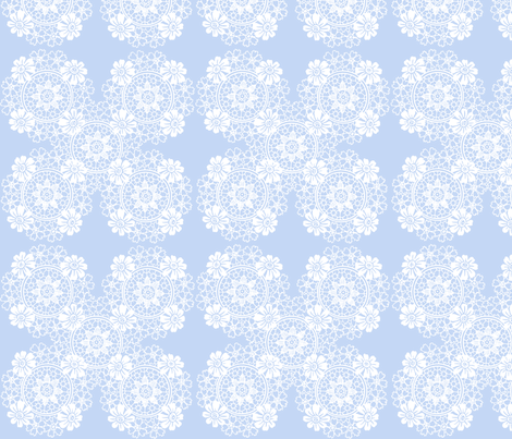 Ella Lace in blueberry blue fabric by lilyoake on Spoonflower - custom fabric