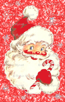 Santa Sparkle Red faux Glitter small size Christmas 2014!