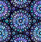 Painted Rose Windows (Blue - Large)