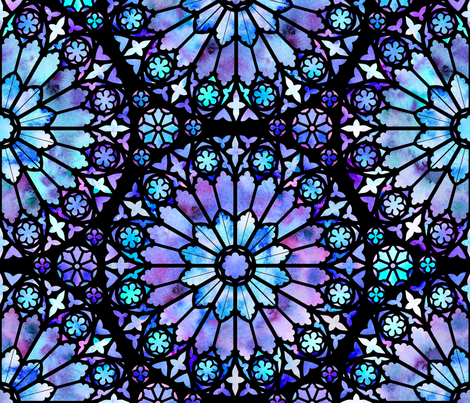Painted Rose Windows (Blue - Large) fabric by logan_spector on Spoonflower - custom fabric