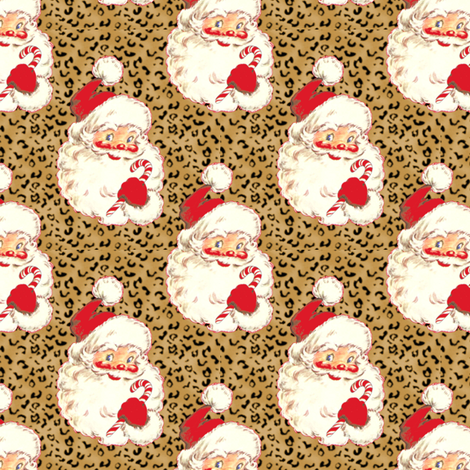 Santa Leopard Christmas  size changed to med size  fabric by parisbebe on Spoonflower - custom fabric