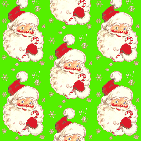 Santa on Lime! Christmas 2014 fabric by parisbebe on Spoonflower - custom fabric