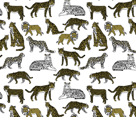lions and tigers // gold dark yellow mustard kids safari zoo  fabric by andrea_lauren on Spoonflower - custom fabric