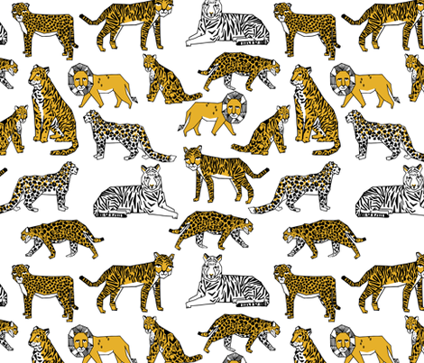 lion tigers // safari tiger lions zoo africa gold yellow mustard fabric by andrea_lauren on Spoonflower - custom fabric