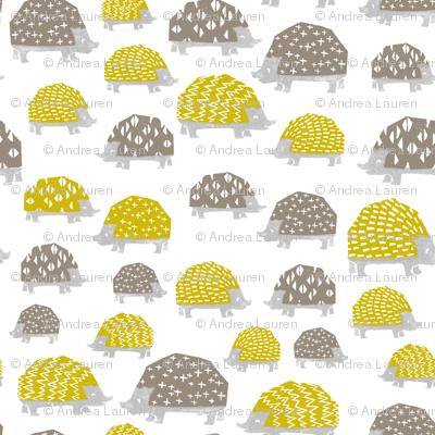 Hedgehogs - Goldenrod/Silver Grey  by Andrea Lauren