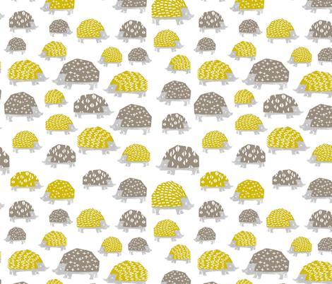 Hedgehogs - Goldenrod/Silver Grey  by Andrea Lauren fabric by andrea_lauren on Spoonflower - custom fabric