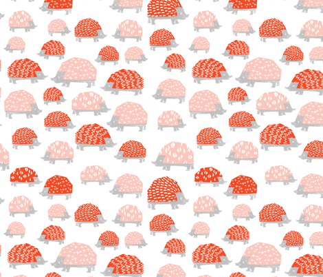 Hedgehogs - Vermillion/Pale Pink on White by Andrea Lauren fabric by andrea_lauren on Spoonflower - custom fabric