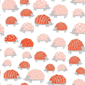 Hedgehogs - Vermillion/Pale Pink on White by Andrea Lauren